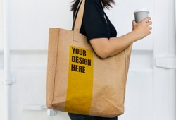 Design space on a blank brown tote bag