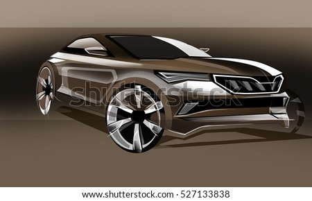 Design sporty exterior car is brown drawing brush color painting. Vehicle is dynamics and type off road. Sketch is sketched with lights lines and luxurious curves.