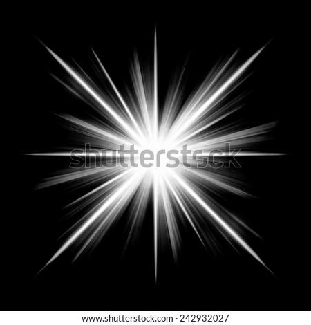 Design star photoshop background black-white luminous rays isolate white star