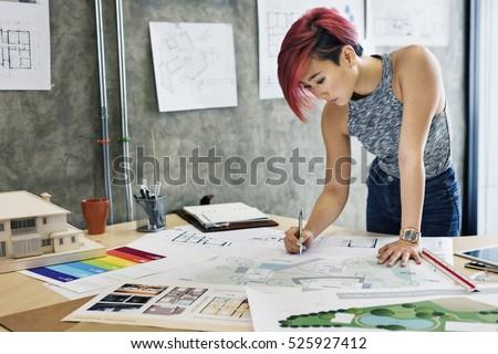 Design Studio Architect Creative Occupation Blueprint Concept Foto d'archivio ©