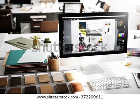 Design Studio Creativity Ideas Wood Palette Decoration Concept - Shutterstock ID 372200611