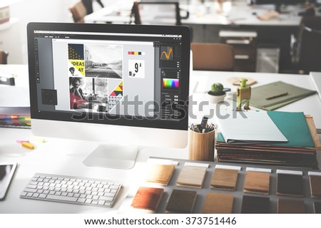 Design Studio Creativity Ideas Wood Palette Decoration Concept - Shutterstock ID 373751446
