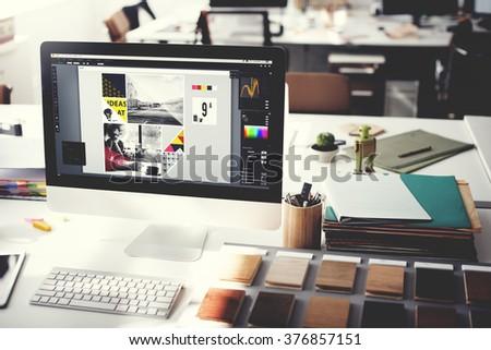 Design Studio Creativity Ideas Wood Palette Decoration Concept - Shutterstock ID 376857151