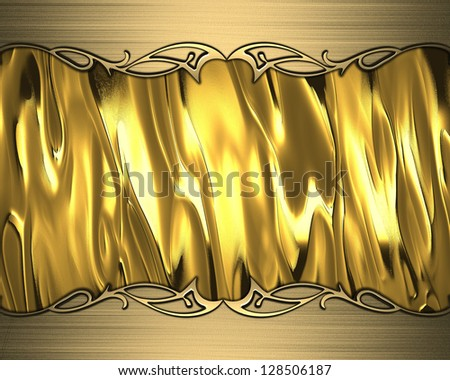 Design template - Abstract gold background with gold edges and gold trim