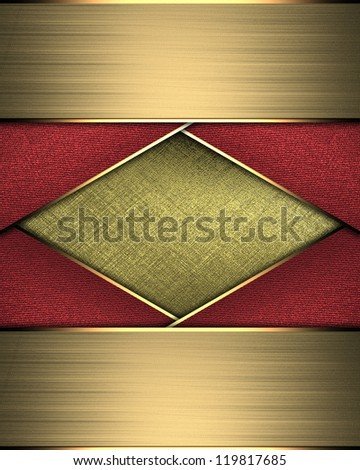 Design template - Abstract Gold Background with red ribbons and gold edges