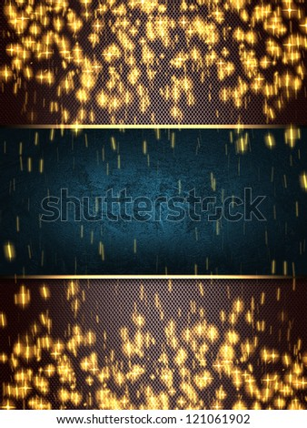 Design template - christmas sparkle. Flickering colorful Lights, on brown background with blue nameplate