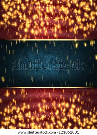 Design template - christmas sparkle. Flickering colorful Lights, on red background with blue nameplate