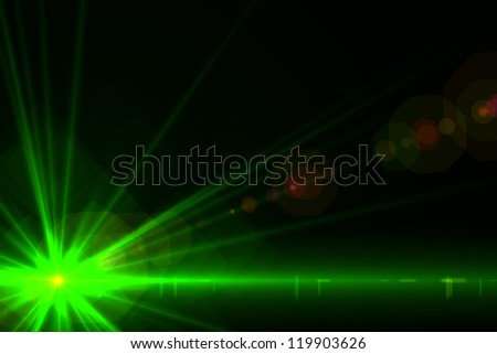 Design template - Star, sun with lens flare. Rays background.