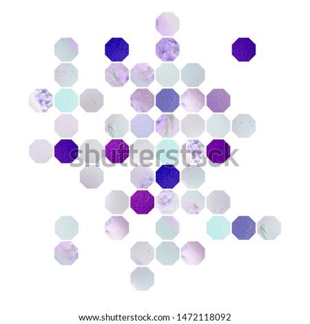 Design with polygons. Polygons with different texture in purple colors. Texture foil, watercolor, lavender flowers