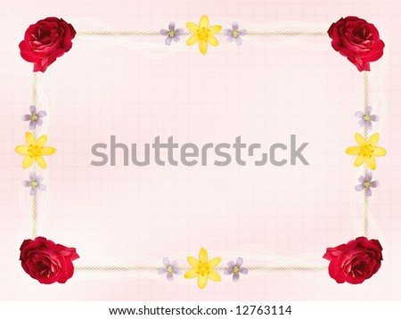 Design with roses and wildflower border for an invitation or note card.