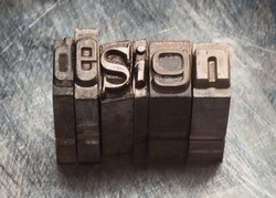 Design word letters with vintage grunge letterpress type