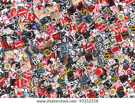 Designed background. Digital collage made of newspaper clippings.