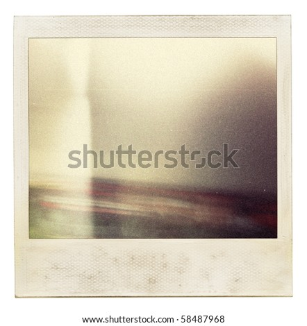 Designed grungy instant film frame with abstract filling. Grain added as vintage effect.