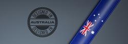 Designed in Australia stamp & Australian flag.