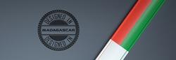 Designed in Madagascar stamp & Malagasy flag.
