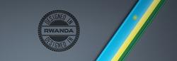 Designed in Rwanda stamp & Rwandan flag.