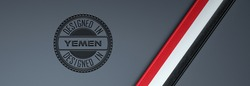 Designed in Yemen stamp & Yemeni flag.