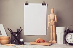 Designer artistic desk website header hero image with blank poster mock up