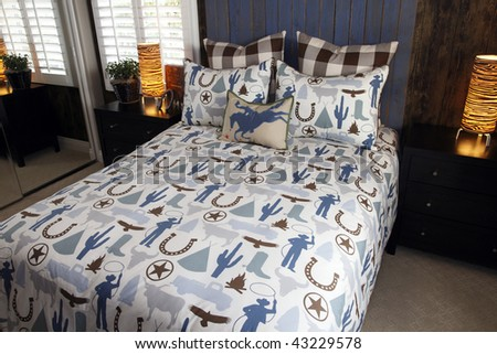 Designer bedroom with contemporary furniture and decor. #43229578