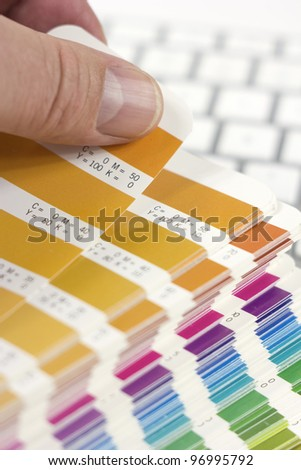 designer choosing proper color