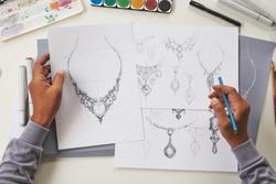 Designer design diamond jewelry drawing sketchesmaking workscraft unique handmade luxury necklaces product ideas.