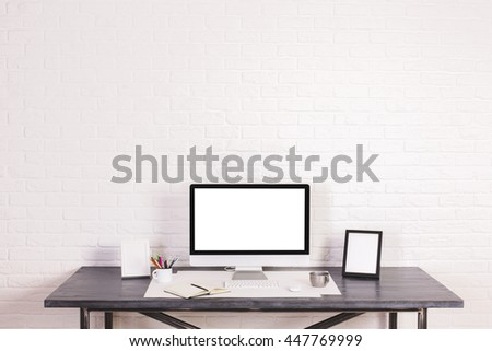 Free photos Designer desktop with blank white computer monitor ...