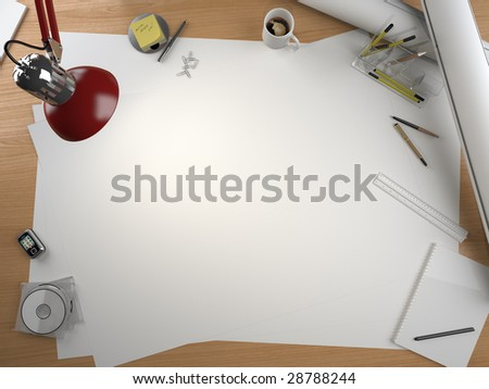 designer drawing table with lots of elements and a centered copy space for your own design