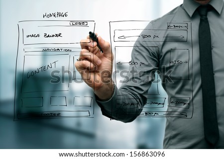 designer drawing website development wireframe #156863096