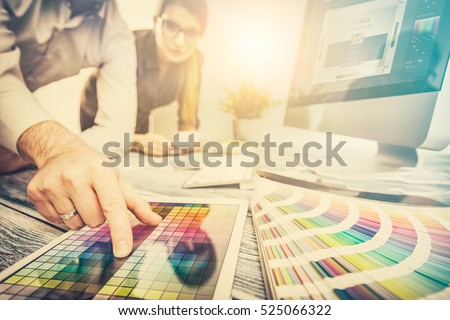 designer graphic creative creativity work tablet designing design imac artist coloring colour ideas style networking human notebook pattern place concept - stock image #525066322