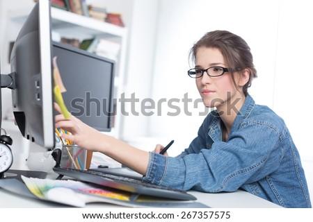 Designer, graphic, working.