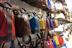 Designer handbags in the shop on a street of Prague