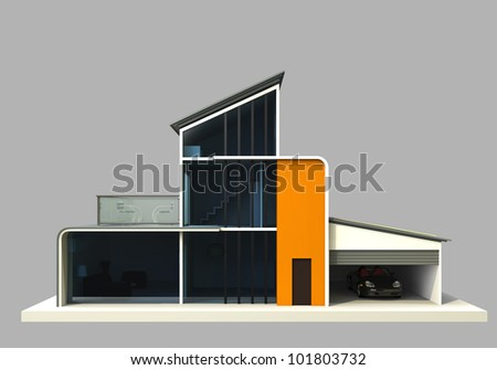 designer house painting in orange color(front view) - stock photo