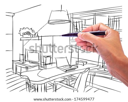 Designer 39 s hand drawing interior perspective of modern - Hand drafting for interior design ...
