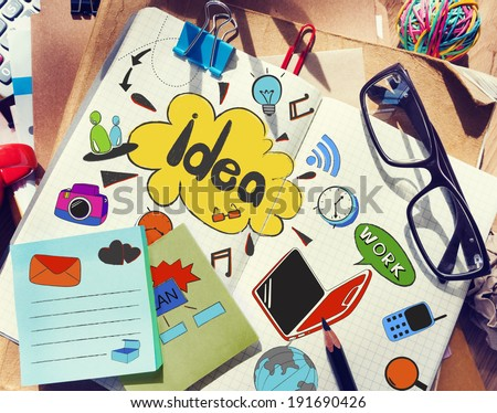 Designer's Table with Notes about Ideas and Tools #191690426