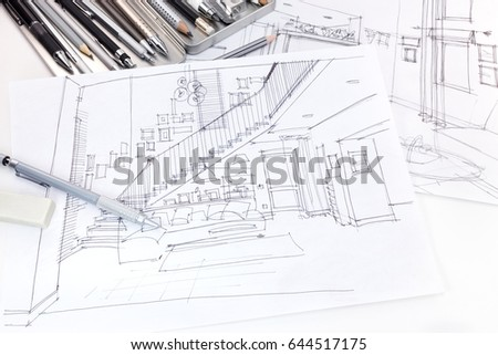 Free interior outline sketch furniture blueprint architectural detail designers graphical sketches of living room interior and furniture blueprint with various drawing tools 644517175 malvernweather Images