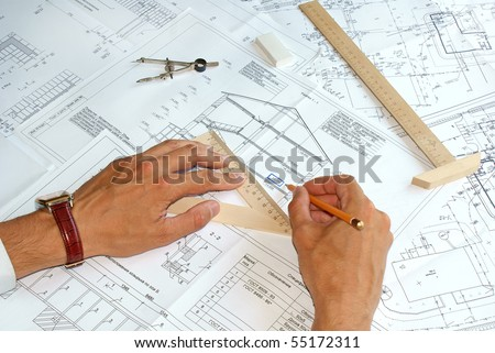 designing-initial preparatory stage in construction new building - stock photo