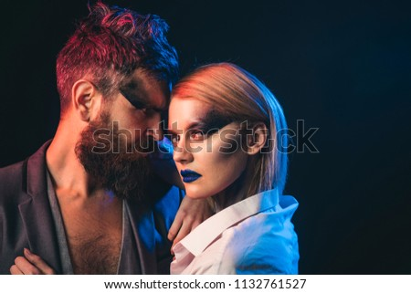 Desire concept. Fashion couple with makeup and stylish hair hug with desire. Beauty and desire. Style you desire. #1132761527