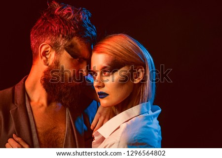 Desire concept. Fashion couple with makeup and stylish hair hug with desire. Beauty and desire. Style you desire. #1296564802