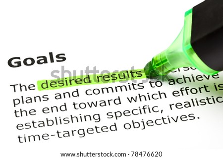 Desired results highlighted in green, under the heading Goals.