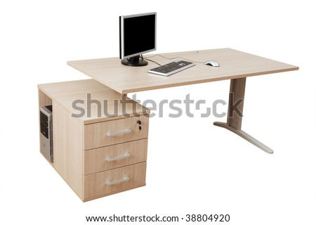 desk and a modern computer on a white background