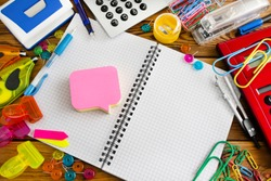 Desk and colorful stationery