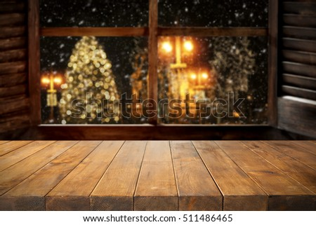 desk and window of winter time