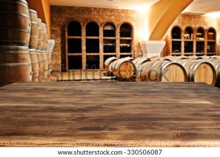 desk and wooden barrels
