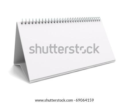 Desk calendar. 3D rendering of a blank desk calendar