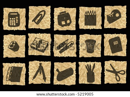 desk icons on crumpled paper