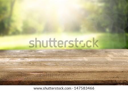 desk in garden
