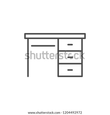 Desk line icon isolated on white