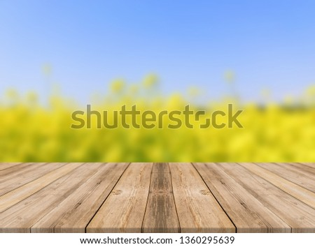Desk of free space and spring landscape - Image  #1360295639