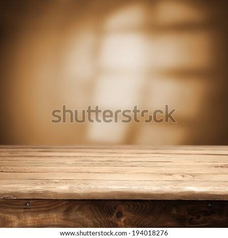 desk of wood and brown window shadow in interior