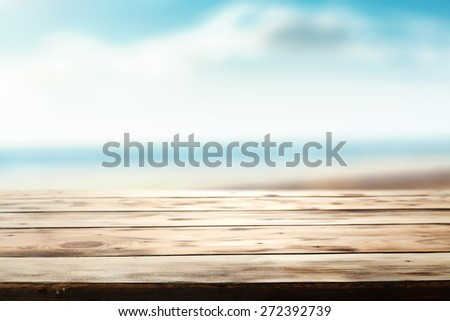 desk of wood and sea